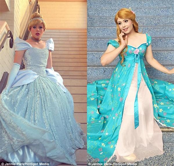 Anh cũng từng hóa trang thành Cinderella (ảnh trái) trong Cô bé Lọ Lem và Giselle (ảnh phải) trong phim Enchanted.