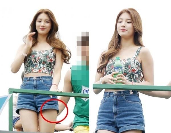 Suzy cũng từng là nạn nhân của một vụ sàm sỡ. Trong một sự kiện quảng cáo, cô diện bộ đồ khá ngắn với áo crop top và quần shorts. Hình ảnh ghi lại cho thấy, MC nam đã có hành động đụng chạm vào vòng 3 của Suzy khiến fan của cô nổi giận. Mặc dù công ty quản lý lên tiếng phủ nhận nhưng dư luận cho rằng đây là sự cố cần cảnh cáo.