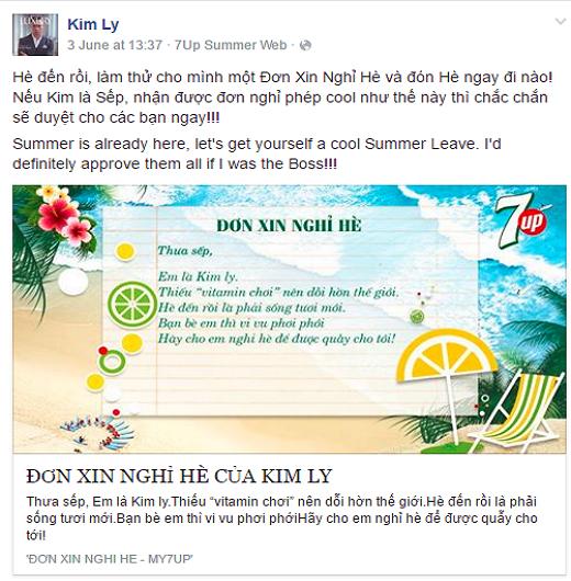 """Diễn viên Kim Lý cũng hào hứng chia sẻ ngay đơn xin nghỉ hè quá """"cool"""" thế này."""