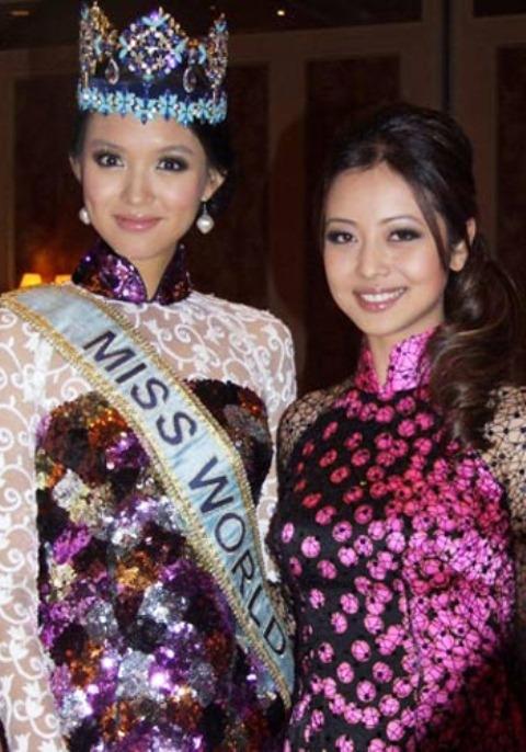 Hoa hậu Thế giới 2007 Trương Tử Lâm và Jennifer Phạm.