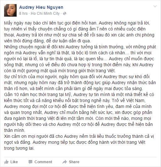 """Chia sẻ trên trang cá nhân, Audrey Hiếu Nguyễn cho biết: """"Sự chỉ trích của mọi người hôm qua khiến Audrey rất khó để đối mặt nhưng hôm nay lại trở thành động lực để Audrey biết rõ bản thân hơn và thật sự cần làm gì để tỏa sáng""""."""