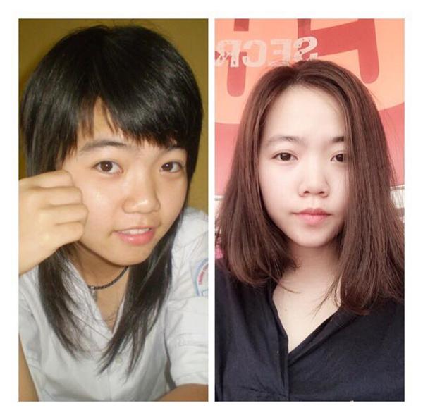 Nhìn ảnh trái là biết được 8 năm trước, cô gái này đã khá sành điệu với mốt tóc sư tử. Ngày nay, cô càng hiện đại hơn với tóc ngang mái dài đúng trend và gương mặt tự nhiên, duyên dáng. (Ảnh: Bỉ ổi)