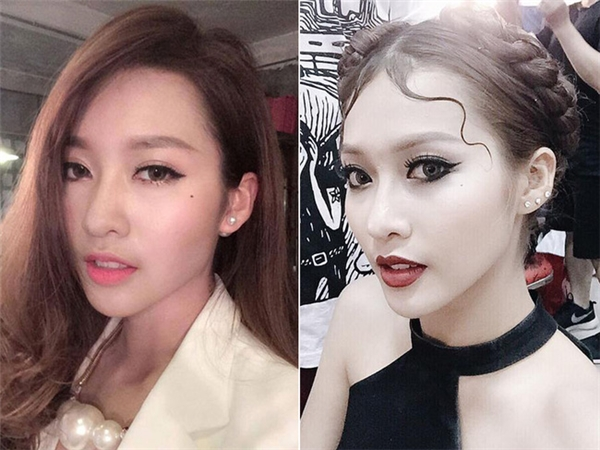 """Những màu son hồng quen thuộc của nàng hot girl Việt này cũng đã được thế chỗ bởi son đỏ trầm, mắt đen tuyền. Cô nàng còn vẽ viền môi để tạo nên hiệu ứng về một đôi môi dày, """"gợi đòn"""" hơn."""