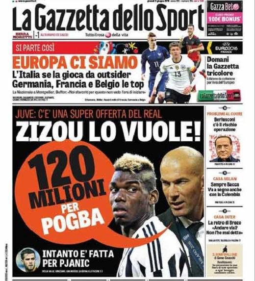 Trang nhất của tờ La Gazzetta dello Sport