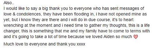 Lisa Webb kết lại chia sẻ của mình bằng cách một lần nữa cảm ơn những nhà hảo tâm đã hỗ trợ tìm kiếm cháu trai của cô.