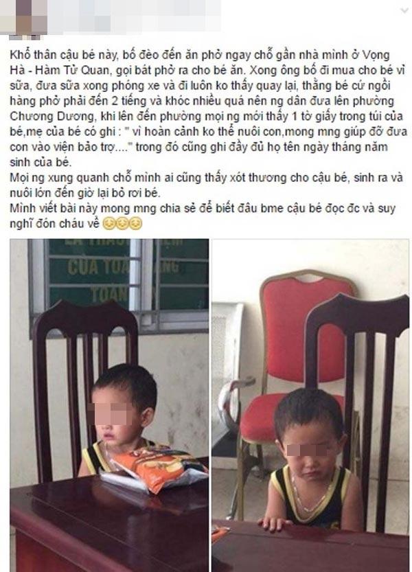 Hình ảnh bé trai bị bỏ rơi ở Hà Nội được cộng đồng mạng chia sẻ trên mạng. Ảnh: Chụp màn hình