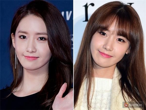 Tương tự như Park Shin Hye, YoonA cũng sở hữu diện mạo sang trọng, sắc sảo hơn hẳn khi không để mái. Còn khi diện tóc mái thưa, nữ ca sỹ lại gây ấn tượng với vẻ trong sáng, ngây thơ.