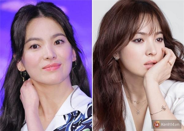 Vốn là một trong những tượng đại nhan sắc của Kbiz nên hiển nhiên Song Hye Kyo được tin là để tóc nào cũng đẹp. Tuy nhiên, nhiều fan vẫn cho rằng cô hợp với tóc mái thưa hơn là tóc rẽ ngôi giữa. Xét một cách khách quan, tóc mái thưa khiến nữ diễn viên trông kiêu sa và trẻ trung hơn hẳn.