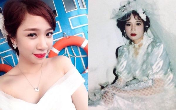 Cả 2 mẹ con mặc váy cô dâu đều xinh xắn chẳng kém gì hot girl.