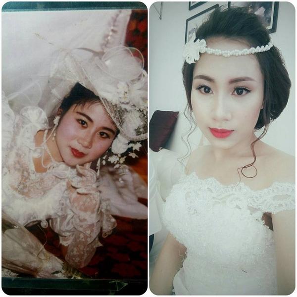 Lấy chồng năm 22 tuổi, sớm hơn tuổi mẹ lên xe hoa về nhà chồng 2 năm nên Phương Linh có khuôn mặt non nớt, trẻ trung hơn mẹ.