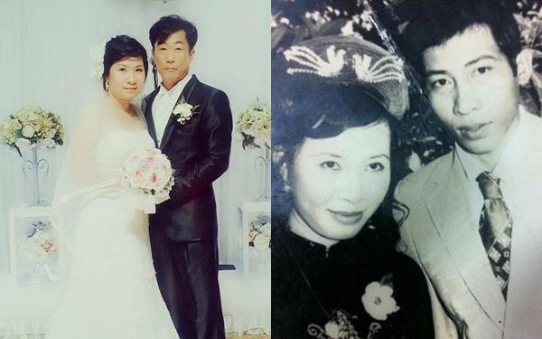 Còn Thanh Tuyền, 31 tuổi mới lấy chồng nên nhìn lại có phần chững chạc, đứng tuổi hơn so với ảnh cưới của mẹ, vì khi ấy, mẹ của Thanh Tuyền chỉ ở tuổi đôi mươi.