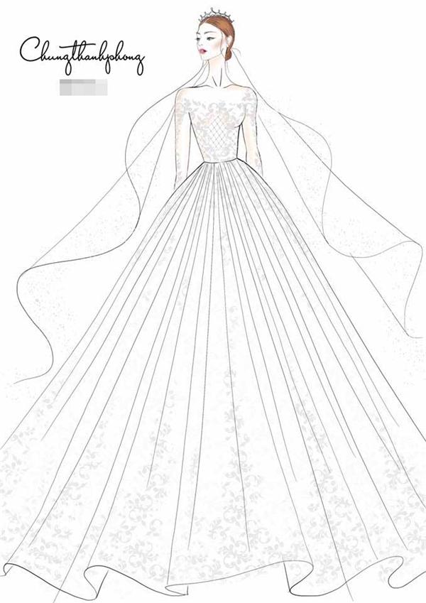 Mới đây, nhà thiết kế Chung Thanh Phong vừa đăng tải một bản vẽ trên trang cá nhân và khẳng định đây chính là trang phục của Kỳ Hân trong ngày trọng đại.Thiết kế với phom váy xòe rộng điệu đà kết hợp khăn choàng dài quyến rũ, ấn tượng.