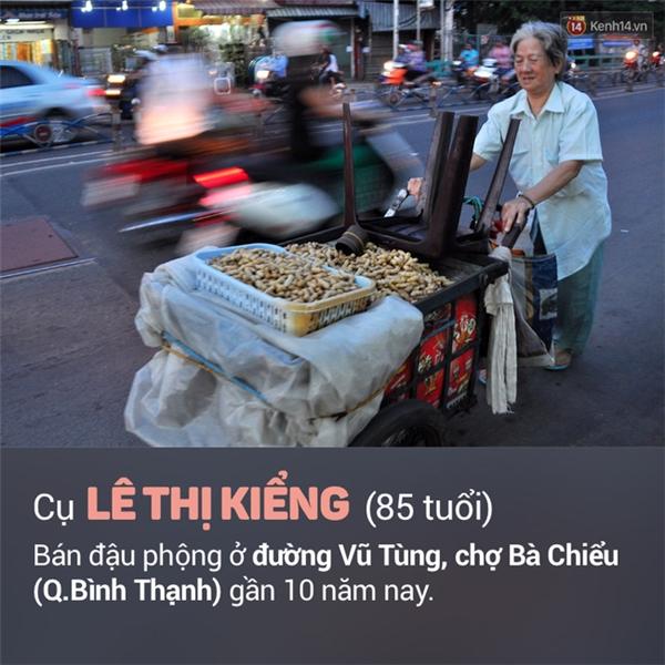 Cụ Lê Thị Kiểng (85 tuổi) một mình đẩy xe đậu phộng đến đường Vũ Tùng, chợ Bà Chiểu (quận Bình Thạnh) bán đậu phộng mưu sinh nuôi chồng đang bệnh. Các con của cụ cũng nghèo khó nên không giúp được gì. Cụ Kiểng bán đậu vào lúc chiều tối trong gần 10 năm nay.