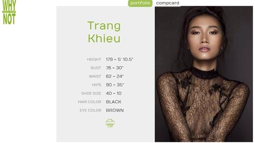 Profile của Trang Khiếu trên website của Why Not Models.