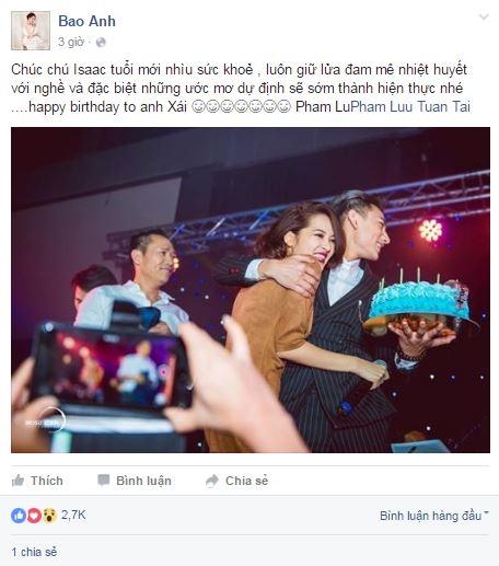 """Nữ ca sĩBảo Anh cũng dành lời """"có cánh"""" cho người bạn thân thiết Isaac trong ngày vui của anh. - Tin sao Viet - Tin tuc sao Viet - Scandal sao Viet - Tin tuc cua Sao - Tin cua Sao"""