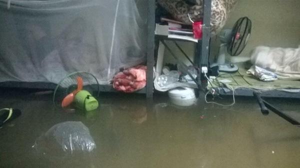 Sau một đêm mưa lớn, phòng kí túc xá đã biến thành sông, dép nổi lềnh bềnh, đồ điện chìm trong nước, người cũng suýt bị nước cuốn đi. Đời sinh viên đã thiếu tiền lại còn bị mưa lũ càn quét đồ đạc thế này thì coi như đói cả tháng.
