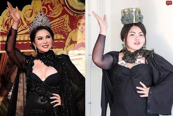 Nàng béo tái hiện lại hình ảnh của Hoa hậu Thái Lan 2000 Panadda Wongphudee.