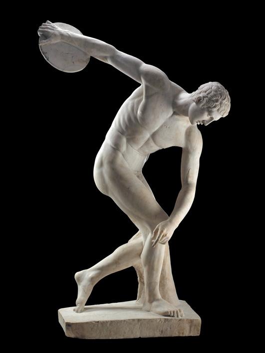 Pho tượng một vận động viên ném đĩa trên người không mảnh vải che thân.