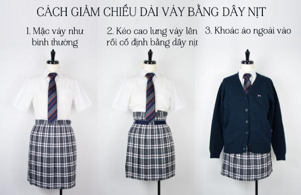 Cách đơn giản nhất để giảm độ dài váy là kéo cao váy lên rồi dùng dây nịt giữ lại.