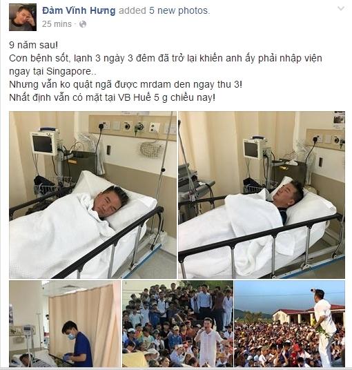 Đàm Vĩnh Hưng cho biết anh đã phải điều trị bệnh tại một bệnh viện ở Singapore do bị lạnh và sốt cao ba ngày ba đêm liền. - Tin sao Viet - Tin tuc sao Viet - Scandal sao Viet - Tin tuc cua Sao - Tin cua Sao