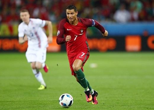 """Tiền vệ trái Cristiano Ronaldo ( Bồ Đào Nha- 6.55 điểm):Là đầu tàu trên hàng tấn công của Bồ Đào Nha nhưng siêu sao 31 tuổi lại bất lực trước hàng phòng ngự chơi kỉluật của Iceland. Tiền đạo thuộc biên chế Real Madrdid đã bỏ lỡ ít nhất 2 cơ hội ngon ăn để đem về chiến thắng cho """"The Seleccao""""."""