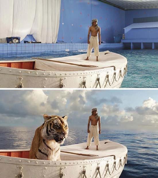 Biển khơi trong phim thật ra chỉ là một bể bơi.