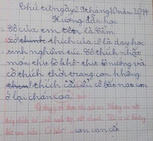Một em học sinh khác thì tranh thủ nhắn gửi cho cô qua một bài tập làm văn trên lớp và được cô trả lời nhiệt tình. Đoạn đối đáp này giữa hai cô trò thực sự rất đáng yêu. (Ảnh: Internet)