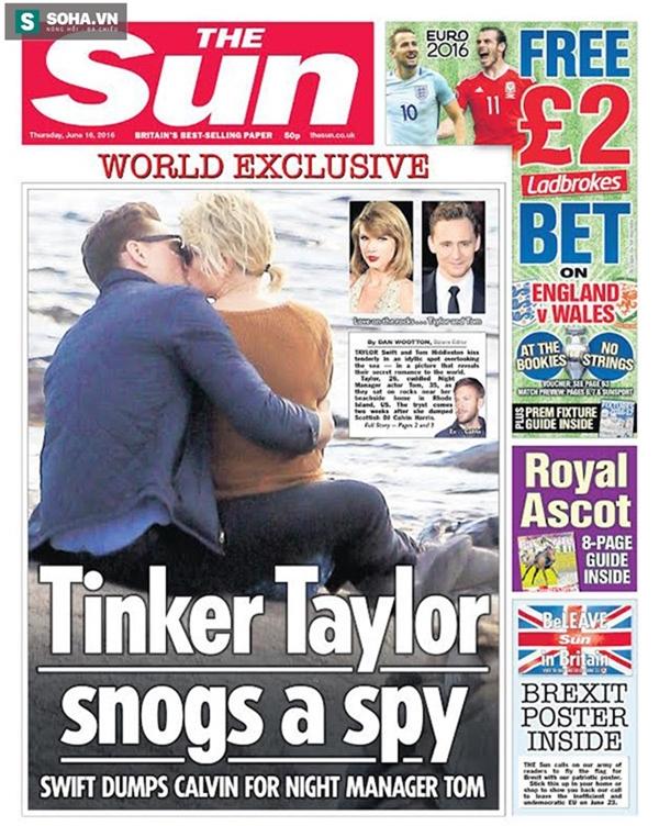 Hình ảnh Taylor Swift và Tom Hiddleston đăng tải trên báo.