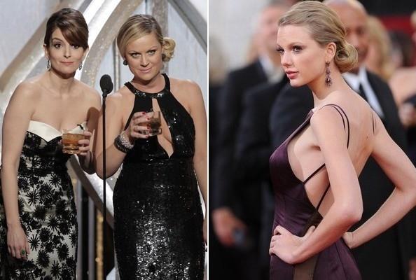 """Chuyện hẹn hò và """"đá xéo"""" bạn trai cũ trong bài hát khiến Taylor Swift bị tai tiếng khắp làng giải trí. Hai nữ diễn viên Tiny Fey và Amy Poehler từng công khai châm biếm Taylor ngay lúc cô đang ngồi bên dưới"""