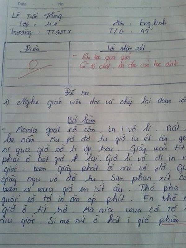 """""""Cười sái quai hàm""""với bài kiểm tra cũng như lời phê của giáo viên này.(Ảnh: Internet)"""