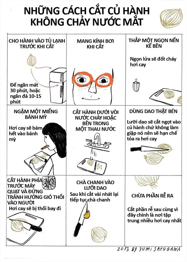 Những cách đơn giản giúp cắt hành không chảy nước mắt. (Ảnh: Yumi Sakugawa)