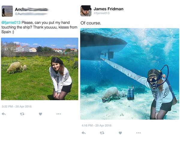 """Cô nàng viết sai chữ """"sheep (cừu)"""" thành """"ship (thuyền)"""" nên James tặng cả cô và mấy con cừu một chuyến du hành dưới đáy biển luôn."""