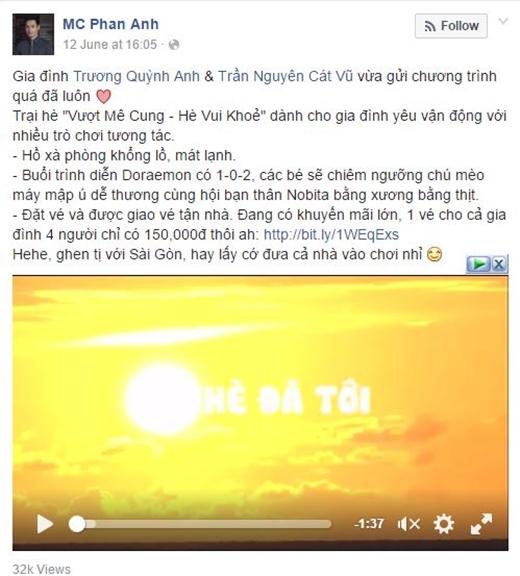 Ây cha, vợ chồng Tim & Trương Quỳnh Anhcũng không quên giới thiệu Trại hè sức khỏe đến MC Phan Anh. Xa xôi là thế nhưng ông bố Phan Anh vẫn dự định sẽ cùng gia đình bay ngay vào TP.Hồ Chí Minhđể tham gia.
