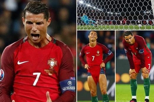 Sắc thái cảm xúc thất vọng mà Ronaldo thể hiện trong trận hòa Áo.