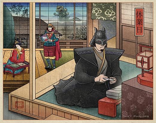 Tuy nhiên, dường như Siêu nhân cũng tìm được niềm vui thời phong kiến cho mình bằng những cuốn truyện... Hello Kitty. (Ảnh: ChetArt)