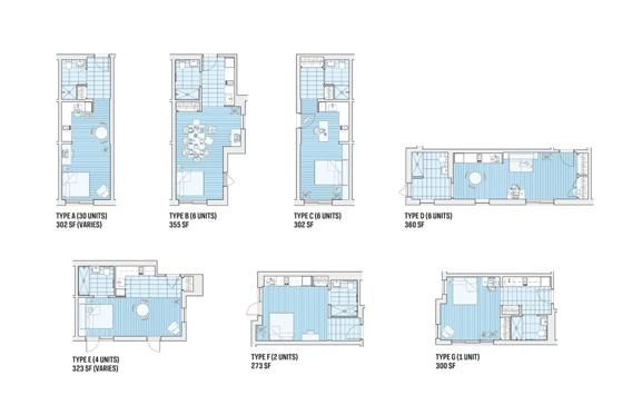 Tùy vào từng vị trí của các mô đun mà các căn hộ có cách bài trí khác nhau.