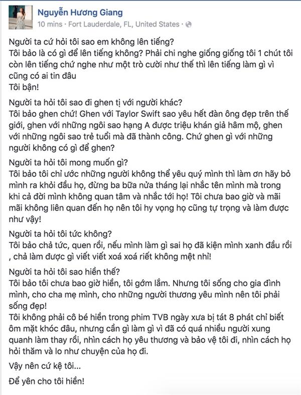 Nguyên văn dòng chia sẻ của Hương Giang Idol trên trang cá nhân vào sáng nay. - Tin sao Viet - Tin tuc sao Viet - Scandal sao Viet - Tin tuc cua Sao - Tin cua Sao