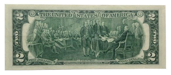 Mặt sau của tờ 2 đô có in hình tổng thống cùng 42 vị quan chức cấp cao.