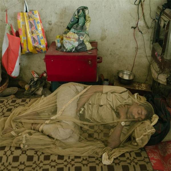 Người đàn ông này đang tránh dịch bệnh sốt xuất huyết bằng cách trùm kín mình trong chiếc màn mỏng manh.