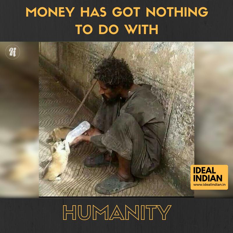 Đằng sau vẻ ngoài bẩn thỉu, nghèo khổ của người đàn ông này là một tấm lòng vàng.(Ảnh: Ideal Indian)