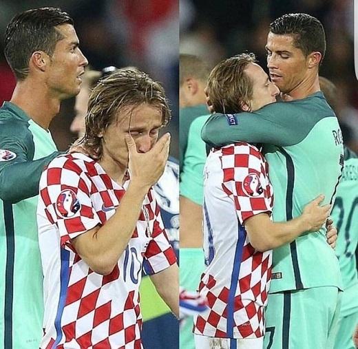 Ronaldo cũng lại gần để an ủi đồng đội tại Real Madrid.