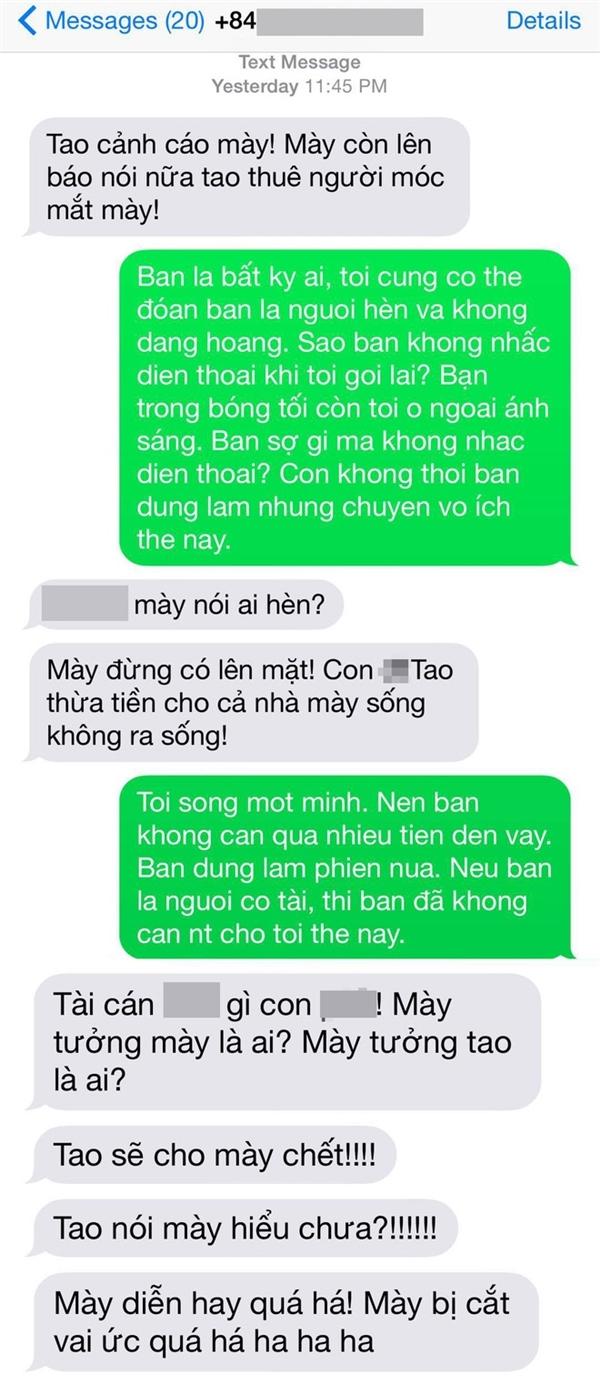 Dòng tin nhắn hăm dọa nữ diễn viên Tinna Tình. - Tin sao Viet - Tin tuc sao Viet - Scandal sao Viet - Tin tuc cua Sao - Tin cua Sao
