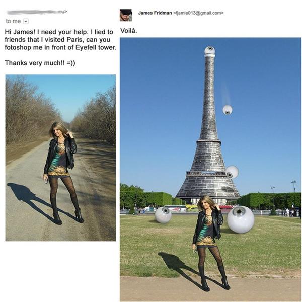 1. Thợ chế ảnh không có lỗi, lỗi tại bà cô này đánh vần nhầm tên tháp Eiffel.