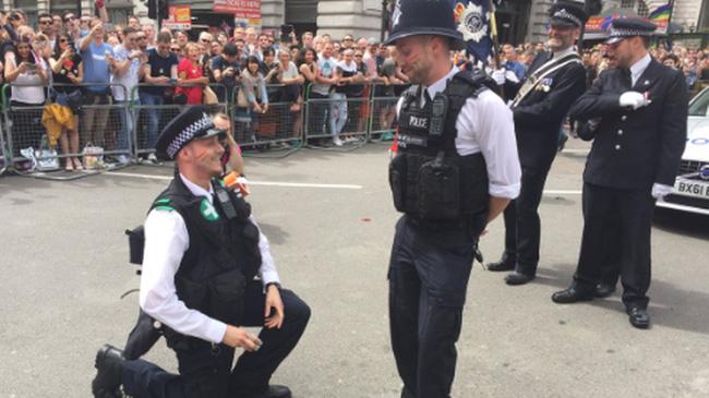 Một màn cầu hôn đầy lãng mạn khác của hai anh cảnh sát.