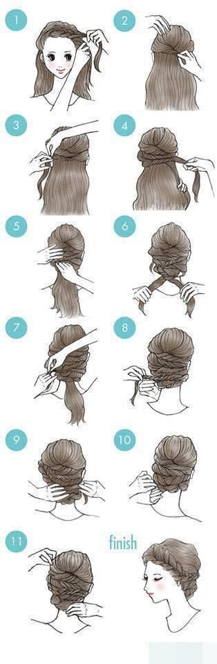 Các cô nàng tóc dài có thể tạo được rất nhiều kiểu khác nhau. Bạn có thể thắt bím từ phần mái về đuôi tóc rồi quấn với phần tóc còn lại, bạn sẽ tạo nên một kiểu tóc vô cùng nữ tính.