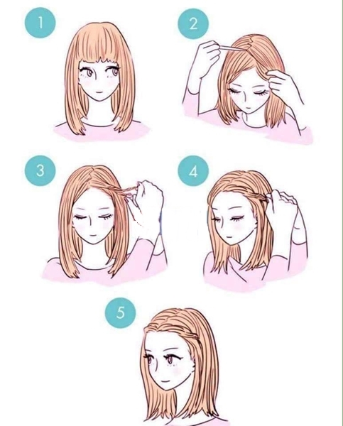 Nếu xõa tóc không thì đơn điệu lắm, sao bạn không thử tết bím phần mái xinh xắn như thế này.