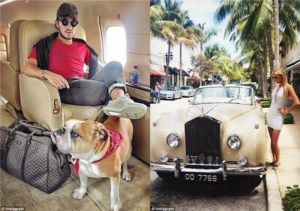 Emir Bahadir đến Miami bằngmột chiếc phi cơ riêng (trái), còn Ally Fusco (phải) đi mua sắm trên chiếc Worth Avenue ở Palm Beach.(Ảnh: Instagram)
