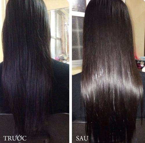 Sự thay đổi kì diệu của mái tóc sau khi gội đầu với rượu trắng. (Ảnh: Internet)