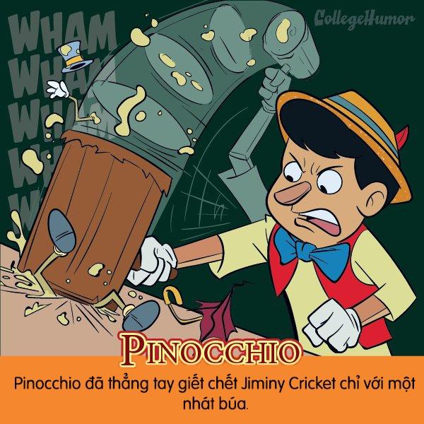 """Cậu bé người gỗPinocchio""""ngoan hiền"""" đến mức thẳng tay giết chết Jiminy chỉ với một chiếc búa."""