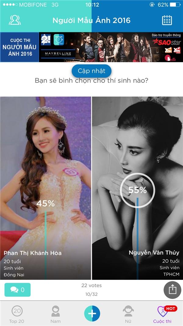 Phan Thị Khánh Hòa cũng đã đạt được số vote ngang bằng cùng đối thủ Nguyễn Vân Thủy – cô gái mang nét đẹp Hạ Vi. Hai người đẹp này đang chạy đua cùng nhau khi tỉ số hiện giờ là 50 – 50.
